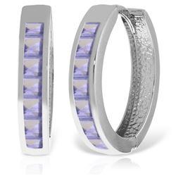 Genuine 1.35 ctw Tanzanite Earrings Jewelry 14KT White Gold - REF-64P7H