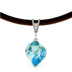 Genuine 13.91 ctw Blue Topaz & Diamond Necklace Jewelry 14KT White Gold - REF-58W5Y