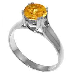 Genuine 1.10 ctw Citrine Ring Jewelry 14KT White Gold - REF-57A3K