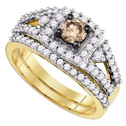 1.04 CTW Cognac-brown Color Diamond Bridal Ring 14KT Yellow Gold - REF-127F4N