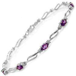 Genuine 2.96 ctw Amethyst & Diamond Bracelet Jewelry 14KT White Gold - REF-82R6P