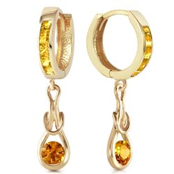 Genuine 2 ctw Citrine Earrings Jewelry 14KT Yellow Gold - REF-74Y4F
