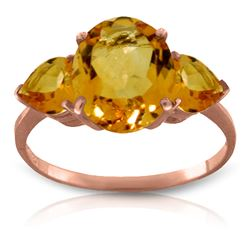Genuine 3.5 ctw Citrine Ring Jewelry 14KT Rose Gold - REF-37A7K