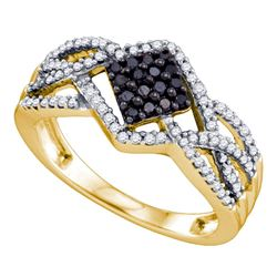 0.35 CTW Black Color Diamond Square Cluster Ring 10KT Yellow Gold - REF-34X4Y