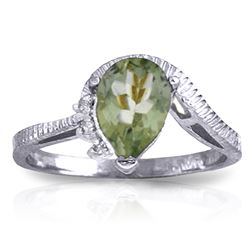 Genuine 1.52 ctw Green Amethyst & Diamond Ring Jewelry 14KT White Gold - REF-51F4Z