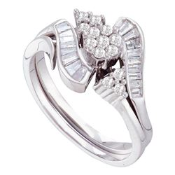 0.49 CTW Diamond Bridal Wedding Engagement Ring 14KT White Gold - REF-67W4K