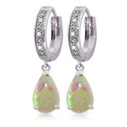 Genuine 1.58 ctw Opal & Diamond Earrings Jewelry 14KT White Gold - REF-60A3K