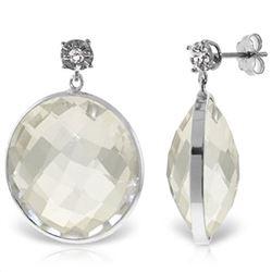 Genuine 36.06 ctw White Topaz & Diamond Earrings Jewelry 14KT White Gold - REF-56M3T