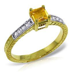 Genuine 0.65 ctw Citrine & Diamond Ring Jewelry 14KT Yellow Gold - REF-69H6X