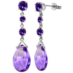 Genuine 13.2 ctw Amethyst Earrings Jewelry 14KT White Gold - REF-39X3M