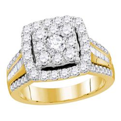 1.59 CTW Diamond Square Cluster Bridal Engagement Ring 10KT Yellow Gold - REF-194M9H