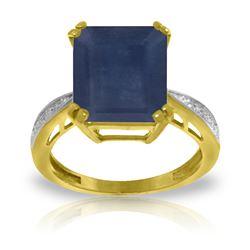 Genuine 7.27 ctw Sapphire & Diamond Ring Jewelry 14KT Yellow Gold - REF-120N2R