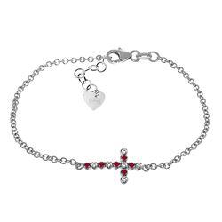 Genuine 0.24 ctw Ruby & Diamond Bracelet Jewelry 14KT White Gold - REF-57F6Z