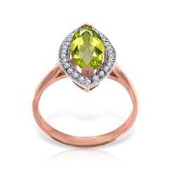 Genuine 2.15 ctw Peridot & Diamond Ring Jewelry 14KT Rose Gold - REF-71H3X