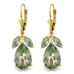Genuine 13 ctw Green Amethyst Earrings Jewelry 14KT Yellow Gold - REF-61X2M