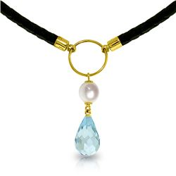 Genuine 9 ctw Blue Topaz & Pearl Necklace Jewelry 14KT Yellow Gold - REF-54R5P