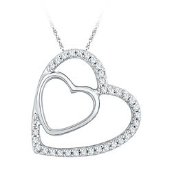 0.12 CTW Diamond Double Heart Pendant 10KT White Gold - REF-9N7F