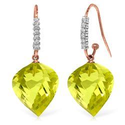 Genuine 21.68 ctw Lemon Quartz & Diamond Earrings Jewelry 14KT Rose Gold - REF-58W2Y