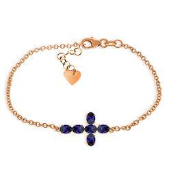 Genuine 1.70 ctw Sapphire Bracelet Jewelry 14KT Rose Gold - REF-66H2X