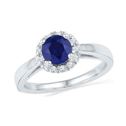 1.12 CTW Created Blue Sapphire Solitaire Ring 10KT White Gold - REF-25M4H