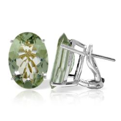 Genuine 15.1 ctw Green Amethyst Earrings Jewelry 14KT White Gold - REF-59X6M