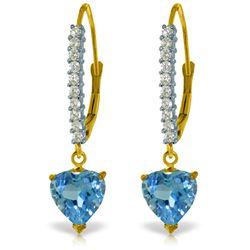 Genuine 3.55 ctw Blue Topaz & Diamond Earrings Jewelry 14KT Yellow Gold - REF-62P2H