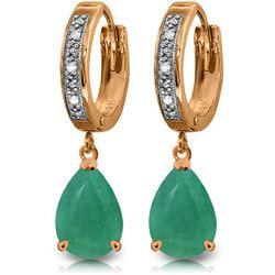 Genuine 2.03 ctw Emerald & Diamond Earrings Jewelry 14KT Rose Gold - REF-69X7M