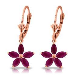 Genuine 2.8 ctw Ruby Earrings Jewelry 14KT Rose Gold - REF-56Z3N