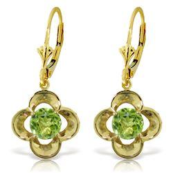 Genuine 1.10 ctw Peridot Earrings Jewelry 14KT Yellow Gold - REF-37Y7F