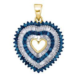 0.90 CTW Blue Color Diamond Heart Outline Pendant 10KT Yellow Gold - REF-34Y4X