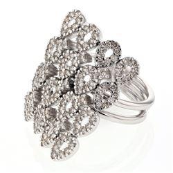 1.59 CTW Diamond Ring 14K White Gold - REF-117F6N