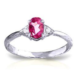 Genuine 0.46 ctw Pink Topaz & Diamond Ring Jewelry 14KT White Gold - REF-22W5Y