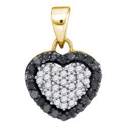 0.33 CTW Black Color Diamond Small Heart Love Pendant 10KT Yellow Gold - REF-14X9Y