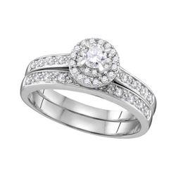 0.50 CTW Diamond Halo Bridal Engagement Ring 14k White Gold - REF-64H4M