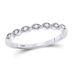0.05 CTW Diamond Stackable Ring 14KT White Gold - REF-14K9W