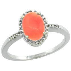 Natural 1.15 ctw Coral & Diamond Engagement Ring 14K White Gold - REF-22R5Z