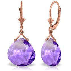 Genuine 17 ctw Amethyst Earrings Jewelry 14KT Rose Gold - REF-38H2X