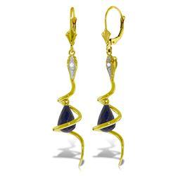 Genuine 6.66 ctw Sapphire & Diamond Earrings Jewelry 14KT Yellow Gold - REF-104P3H