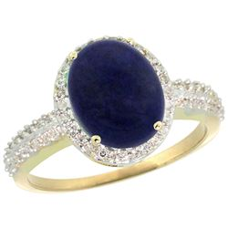 Natural 2.56 ctw Lapis & Diamond Engagement Ring 10K Yellow Gold - REF-30A5V
