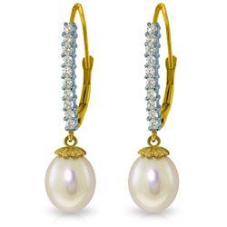 Genuine 8.3 ctw Pearl & Diamond Earrings Jewelry 14KT Yellow Gold - REF-52M7T