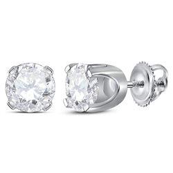 1.42 CTW Diamond Solitaire Stud Earrings 14KT White Gold - REF-322W4K