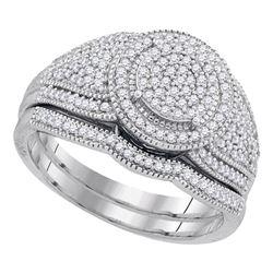 0.50 CTW Diamond Cluster Bridal Engagement Ring 10KT White Gold - REF-52F4N