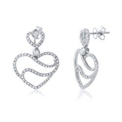 1.12 CTW Diamond Earrings 14K White Gold - REF-79K3W