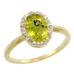 Natural 1.22 ctw Lemon-quartz & Diamond Engagement Ring 14K Yellow Gold - REF-26Z8Y