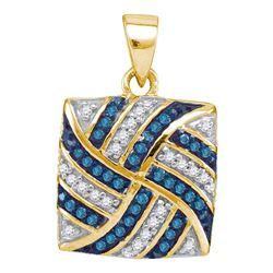 0.25 CTW Blue Color Diamond Square Pinwheel Pendant 10KT Yellow Gold - REF-18F2N
