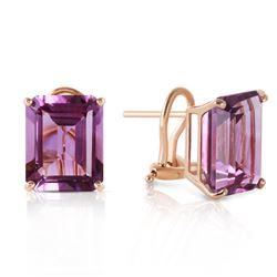 Genuine 13 ctw Amethyst Earrings Jewelry 14KT Yellow Gold - REF-53H2X