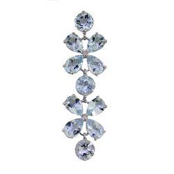 Genuine 20.7 ctw Aquamarine Bracelet Jewelry 14KT White Gold - REF-199M8T