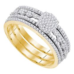 0.40 CTW Diamond Cluster Bridal Engagement Ring 10KT Yellow Gold - REF-44W9K