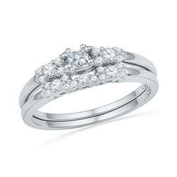 0.40 CTW Princess Diamond Bridal Engagement Ring 10KT White Gold - REF-41M9H