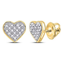 0.10 CTW Diamond Heart Stud Earrings 10KT Yellow Gold - REF-9N7F